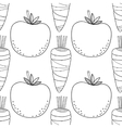 Seamless vegetable black white pattern with vector image