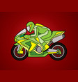 green motorcycle racing side view graphic vector image
