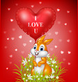 cartoon bunny holding red heart balloons vector image