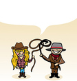 Australian cartoon couple bubble dialogue Vector Image