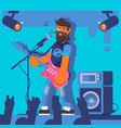 bass guitarist plays on the electric guitar rock vector image