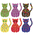 Set of six colorful funny cats over white vector image