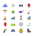 Camping Flat Color Icons vector image