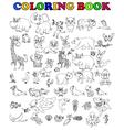 coloring book of big animal cartoon set vector image vector image