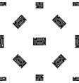 microchip pattern seamless black vector image