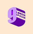 Number 9 3D logo design template elements Digit vector image