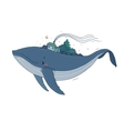 Big beautiful whale with houses and trees in the vector image vector image