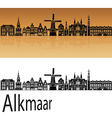 Alkmaar skyline in orange vector image vector image