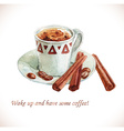 Watercolor coffee cup with coffee beans vector image vector image