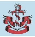 anchor with ribbon and rope vector image