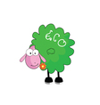 eco sheep with flower vector image