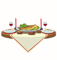 holiday table with wine and fish vector image