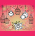 romantic vintage background with cages vector image