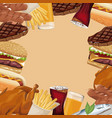 poster border fast food different vector image