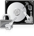 computer hard drive and lock vector image