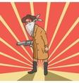 Wild west robber with gun hand drawn vector image