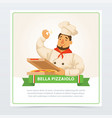 cartoon character of italian pizzaiolo holding vector image