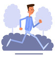 Cartoon young man jogging and listens to music vector image
