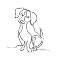 continuous line dog minimalistic hand drawing vector image