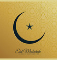 crescent moon and star on golden background for vector image