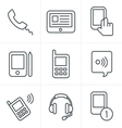 Line Icons Style black phone icons set on gray vector image