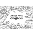 menu restaurant seafood hand drawn collection of vector image