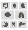 monochrome icons with organs of the human body vector image