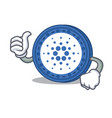 thumbs up cardano coin character cartoon vector image