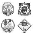 vintage artificial intelligence emblems set vector image