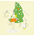 woman with christmas shopping bag vector image
