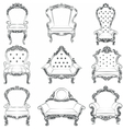 Baroque luxury style armchair furniture set vector image