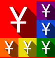 chinese yuan sign set of icons with flat vector image