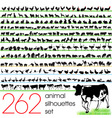 262 animals silhouettes set vector image