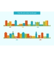Buildings colorful and thin line icons vector image