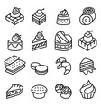 cake dessert bakery icon set in thin line style vector image