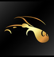 car silhouettes gold on a black background vector image