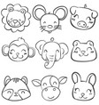 Collection stock of animal head hand draw vector image