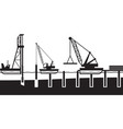 Construction of sea port vector image