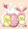 cute cartoon chickens vector image