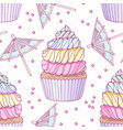 hand drawn seamless pattern with rainbow cupcake vector image