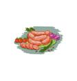Pork Sausages Vegetables Drawing vector image