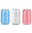 tin cans in white pink blue with water drops vector image