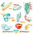 Vintage Mexican Food isolated objects with vector image