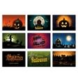 Nine creepy Halloween greeting card party vector image