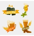 Metal beer cans and glassware mugs with foam vector image