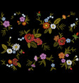 embroidery colorful floral pattern with dog roses vector image