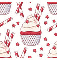 handdrawn seamless pattern with red velvet cupcake vector image vector image