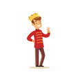 cute little boy wearing in a red prince costume vector image vector image