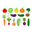 vegetables flat icons set vector image