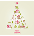 Christmas Card with Christmas Houses vector image vector image